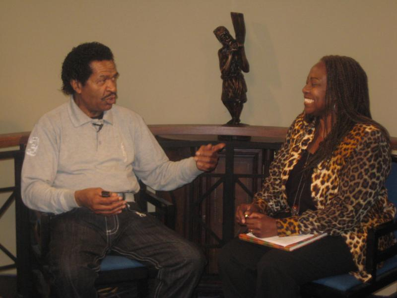 Bobby Rush on the set with Sade Turnipseed